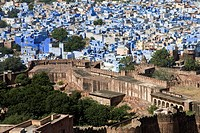 Jodhpur city, known as the Blue City, from Fort Mehrangarh, Rajasthan, India.
