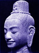 Khmer head of Lokeshvara, stone, Cambodia. 12_13th century. Lokeshvara, translated as he who looks over the world, is the embodiment of compassion in ...