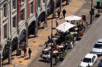 France, Pas de Calais, Arras, Place des Heros, Flemish Baroque style houses and sidewalk cafes