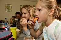 Elementary school students in the cafeteria. Winston_Salem, NC.