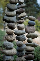 Bellevue Botanical Garden with stacked rocks in rock garden. Bellevue, Washington.