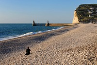 France, Seine Maritime, Pays de Caux, Cote d´Albatre Alabaster Coast, the pebble beach of Fecamp