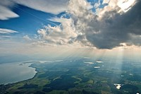 Aerial view, lake Chiemsee and Eggstaetter Seenplatte lake district, Chiemgau, Upper Bavaria, Germany, Europe
