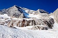 View during the ascent to Marmolada Mountain, Westgrat climbing route, looking towards Marmolada Mountain, Dolomites, Trentino, Italy, Europe