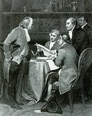 Meeting of the Declaration Committee. Pictured are Thomas Jefferson, Roger Sherman, Benjamin Franklin, Robert Livingston, and John Adams drafting the ...