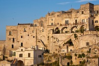 Italy, Basilicate, Matera, semi_cave built borough Sassi listed as World Heritage by UNESCO, most visited touristic site in the region, where Pier Pao...