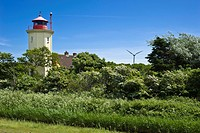 Lighthouse on the dyke, Westermarkelsdorf, Island of Fehmarn, Baltic Sea, Schleswig-Holstein, Germany, Europe