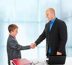 Handshake man and little boy. Isolated on white background