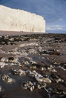 Chalk cliffs at Birling Gap, Eastbourne, England are cut back at a rate of one meter a year by the sea.