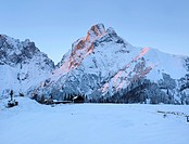 Treffneralm alp and Reichenstein mountain, 2251m, at sunset, Gesaeuse mountain region, Styria, Austria, Europe