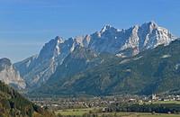 Admont and the mountains of Gesaeuse mountain region, Reichenstein mountain, Styria, Austria, Europe