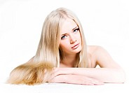 Beautiful young girl with long white hair and shiny skin isolated