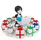 3d girl with gift boxes and laptop on white background