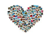 Travel passion _ heart shaped collage made of world photos