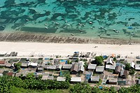 Aerial view, beach with fishermen's huts, Bali Cliff, East Coast, Bali, Indonesia, Southeast Asia