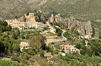 Village view with the Castillo de San José, Guadalest, Costa Blanca, Spain, Europe