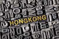 The word Hong Kong, made of old lead type
