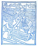 Scenes from a trade: timber haulers. Woodcuts, 1500/01, from Les Ordonnances de paris.