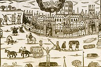 Woodcut of the plague, printed above a ´lamentable list of Death´s triumphs in the weekly burials of the city of London´.