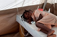 Slyvie Lafoir, 8 years old being treated at Martissant 25 , a cholera treatment center in Port_au_Prince run by Doctors without Boarders MSF that trea...