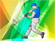 Sports Abstract Lights Backgrounds_ Baseball batter with wooden bat