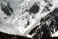 Avalanches on T mountain in the San Juan Range in Colorado. Shown are three sides that took place in the spring. Close up of three slides.