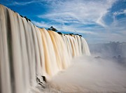 Iguazu falls, one of the new seven wonders of nature. UNESCO World Heritage site. View from the brazilian side