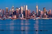 Manhattan skyline viewed from New Jersey at twilight.