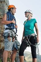 Climbers talking on mountain