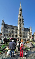 Flower stall in front of the Brussels Town Hall at the Grand Place, Belgium