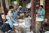 India, Delhi, Old Delhi, street food, people making bread.