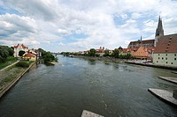 The Danuber river in Regensburg Germany