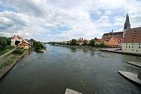 The Danuber river in Regensburg Germany