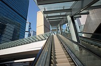 escalator and office buildings, Hong Kong, China