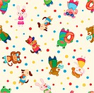 cartoon summer animal seamless pattern