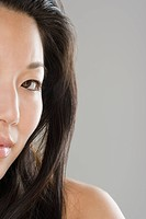 Close up of half of Asian woman's face