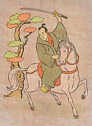 illustration of a Samurai warrior on horseback with katana sword in fighting stance done in Japanese wood block print cartoon style