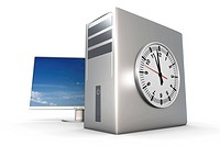 Digital time / server time. 3D rendered Illustration. Isolated on white.