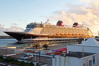 The Disney Fantasy at Sao Miguel island, Azores, for a technical stop-over before being christened