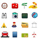 Travel and tourism related icon set. Image contains gradients_ EPS8.