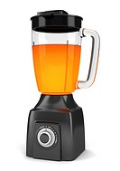 modern black blender with orange juice isolated on white background