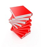 3d render of red books stack isolated on white background