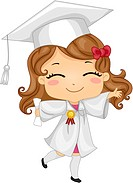 Illustration of a Kid Wearing Graduation Attire_ eps8