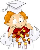 Illustration of a Kid Decorated with Medals and Ribbons_ eps8