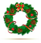 Vector illustration of green wreath with red ribbon, pinecones, holly leaves, berries and red bow