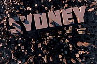 Top view of urban city in 3D with skycrapers, buildings and name Sydney