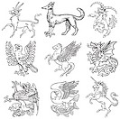 Vectorial pictograms of most heraldic monsters, executed in style of gravure on wood. No dlends, gradients and strokes