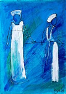 ´Two nurses in white uniform´ painting in acrylic by Kay Gale