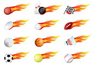 sports balls and flames drawn using gradient mesh