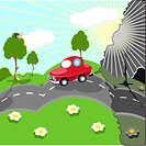 illustration, red car pollutes smoke surrounding nature